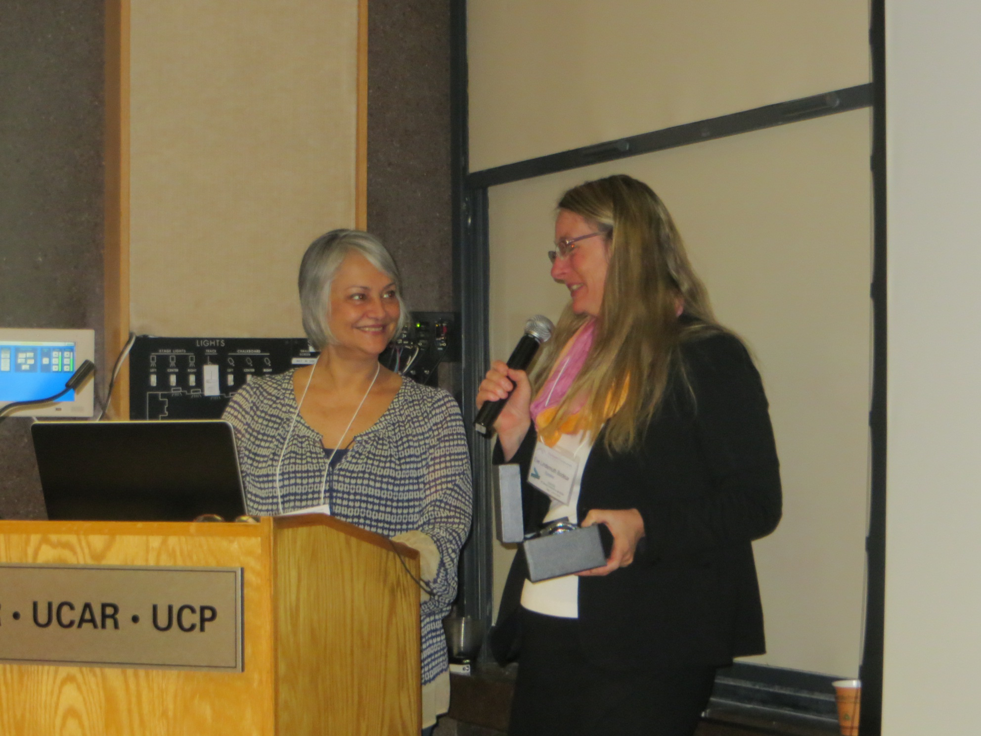 CTA President Thais Lips presents Eve Bodeux with the 2015 Distinguished Service Award. - Photo by Marion Rhodes
